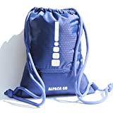 Alpaca Go Drawstring Bags Water Resistant Large Sackpack Backpack Gym Bags for Basketball Sport Gym (Large, Blue Wifi)