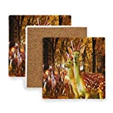 Deer Autumn Animals Trees Coasters, Protect Your Furniture from Stains,Coffee, Cork Coasters Funny Housewarming Gift,Square Cup Mat Pad for Home, Kitchen or Bar Set of 2