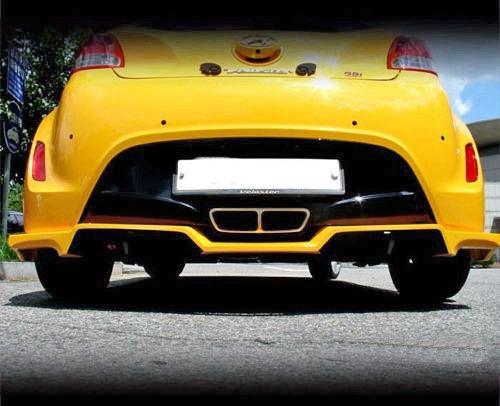 Para Hyundai Veloster Non Turbo c-factor estilo fibra de carbono trasero difusor labios: Amazon.es: Coche y moto