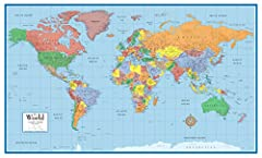 24x36 World Classic Wall Map Poster Mural: This elegant, richly colored classic series world map features the incredible cartographic detail that Swiftmaps has been known for. The map features a Tripel Projection, which reduces distortion of ...