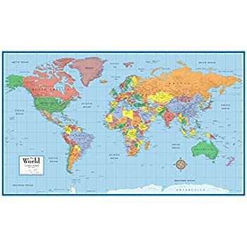 Laminated World Map Amazon.: Rand McNally RM528959948 Rand McNally Full Color 50 x  Laminated World Map