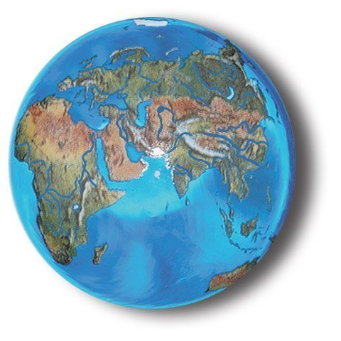 - Aqua Crystal Earth Sphere with Natural Earth Continents, Glass Stand Included, 1.4 Inch Diameter