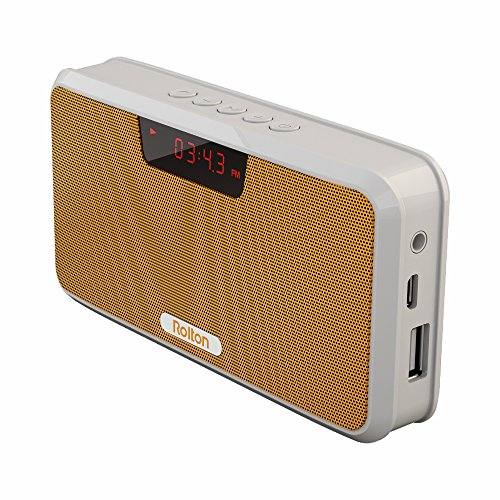 Rolton E300 Multi-functional Portable Wireless Bluetooth Stereo Speaker with Power Bank, FM Radio (Yellow)