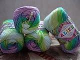 100% Mercerized Cotton Yarn Alize Miss Batik Thread Crochet Lace Hand Knitting Craft Art Lot of 4skn 200gr Color Gradient 3708