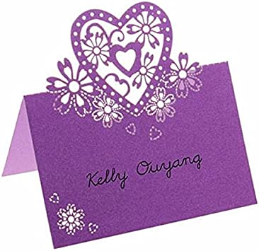 Purple FLAMEER 50pcs Heart Table Name Place Cards Menu Meal Wedding Partys Decoration