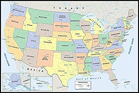 Dry Erase United States Map l & Stick US Wall Map, 12