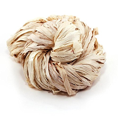 Darn Good Yarn White Recycled Super Bulky Sari Silk Ribbon | Pure Handmade Non Dyed Sari Silk Knitting Yarn, Crochet Yarn, Weaving Yarn | Gift Wrapping Ribbon, Versatile Silk Fabric | 43 Yards, 100g