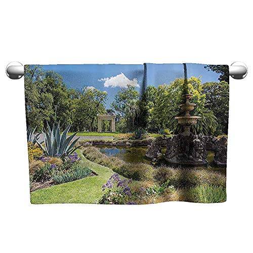 Mannwarehouse Country Home Decor Collection Soft Superfine Fiber Bath Towel Fitzroy Gardens Summer Day View Fountain Historical Iconic Tourist Attraction W12 x L35 Green Blue