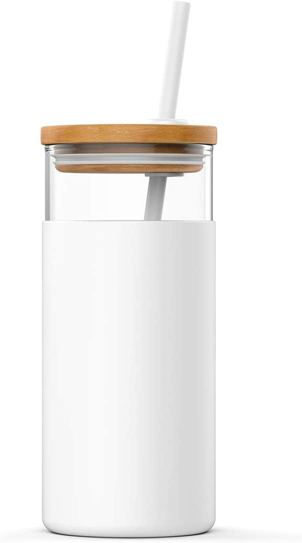 TOP SELLING SUPER STYLISH 20OZ GLASS STRAW TUMBLER WITH BAMBOO LID