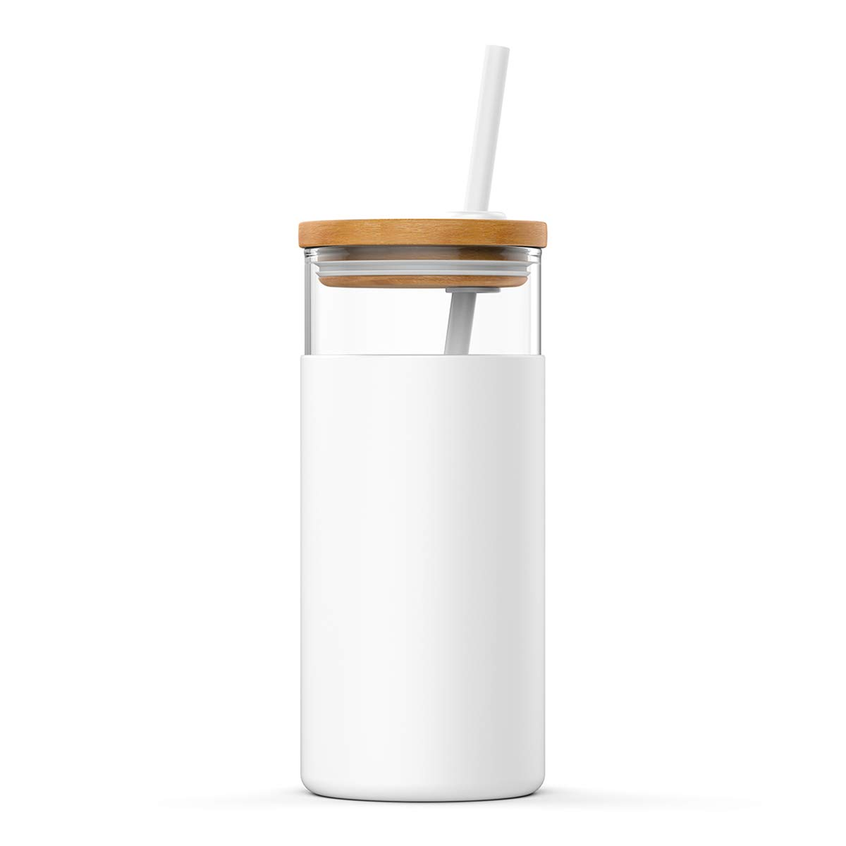 Tronco 20oz Glass Tumbler Straw Silicone Protective Sleeve Bamboo Lid - BPA Free(White