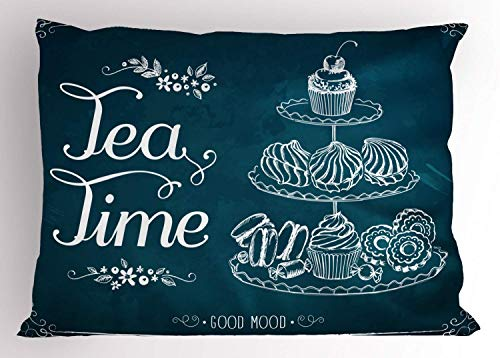 HFYZT Tea Pillow Sham, Pastries Bakery Cookies Muffin Cake Biscuit Morning Sweet Brunch Menu Artful, Decorative Standard Queen Size Printed Pillowcase, 18 X 18 inches, Petrol Blue and White