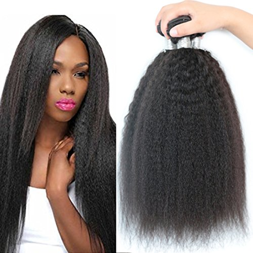 3 bundles brazilian yaki straight hair extensions human hair weave kinky straight virgin hair unprocessed virgin brazilian hair weave bundles (20 20 20) Review