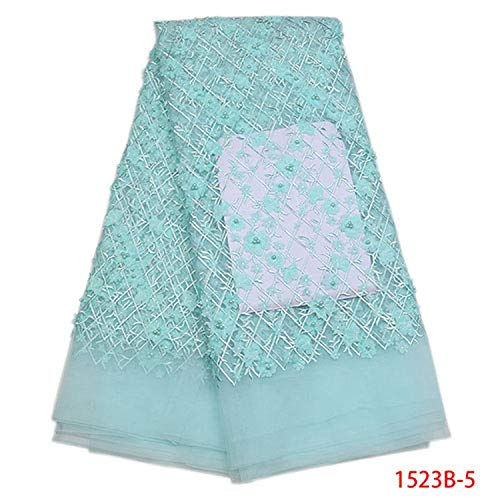 (Memoirs- Nice Nigerian Lace Fabrics 2019 Lace Beaded Tulle Lace French Lace Fabric for Party Dress,Picture 5 )