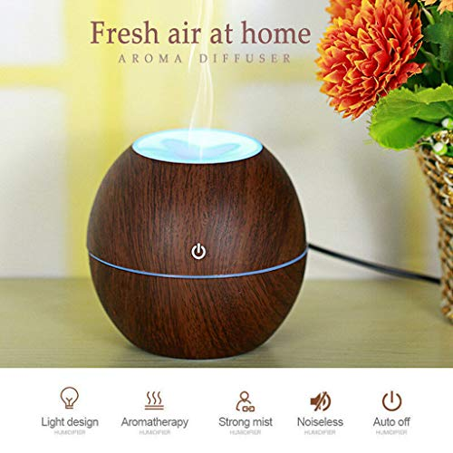 Essential Oil Diffuser Humidifier Wood LED Ultrasonic Aroma Humidifier Aromatherapy Mist Spray for Cars Office Bedroom (Brown)