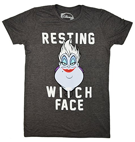 Disney Little Mermaid Ursula Resting Witch Face Juniors Boyfriend T-shirt (Medium, Heather (The Little Mermaid Ursula)
