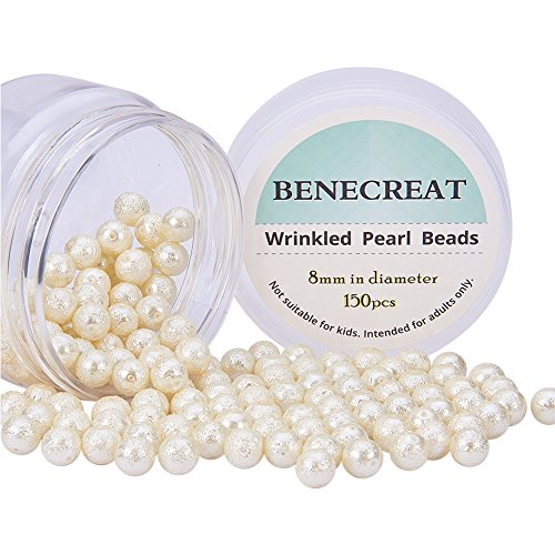 Freshwater Pearls And Glass Bead Necklace - PH PandaHall BENECREAT Pack of 150pcs Round Glass Pearls Beads with Uneven Pastel Colored Coatings Box Set (8mm Ivory white)