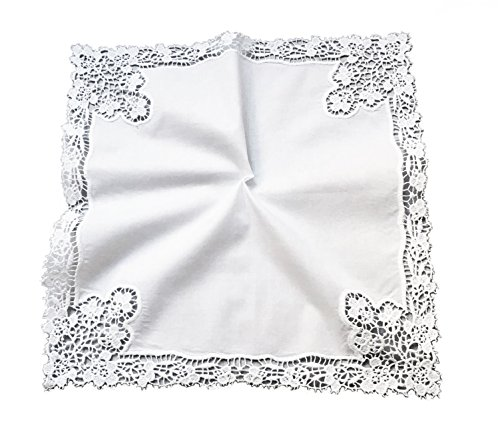 Lovely Flower Lace Trim Wedding Crochet Embroidery Handkerchief for Bride & Ladies/White, A002