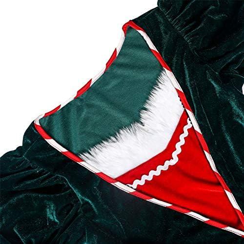 Miss Santa Santa-Kostuums, Kerstoutfit Fluwelen Jurk, Kerstfestivalfeestkostuum En Hoed,L