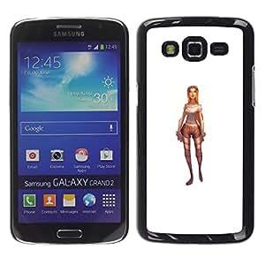 YOYOYO Smartphone Protección Defender Duro Negro Funda Imagen Diseño Carcasa Tapa Case Skin Cover Para Samsung Galaxy Grand 2 SM-G7102 SM-G7105 - lara jinete juego carácter 3d blanco pc