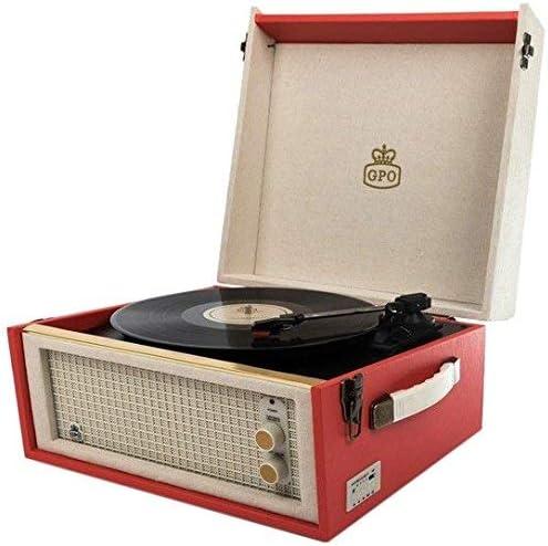 GPO Bermuda Reproductor de vinilos clásico con estilo retro - Tocadiscos de vinilo con MP3, USB, altavoz incorporado - Rojo