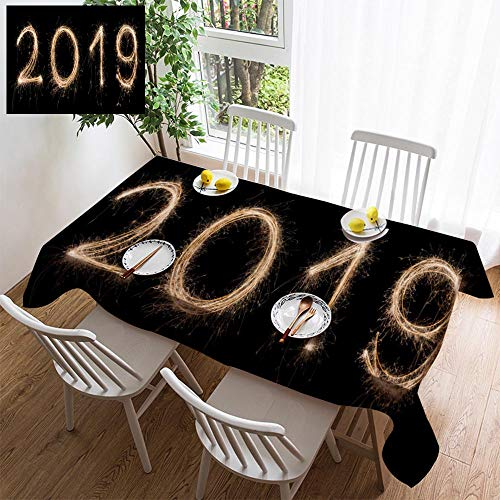 HOOMORE Simple Color Cotton Linen Tablecloth,Washable, 2019 Sparkler Light Drawn in Numbers for Happy New Year at Night time to Decorating Restaurant - Kitchen School Coffee Shop Rectangular 94×54in (Best Restaurants In Buffalo 2019)