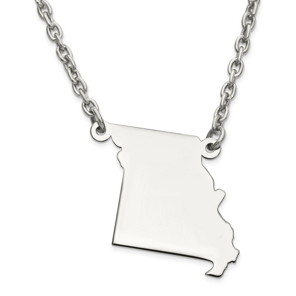 Jewelry Adviser Chain Necklaces SS MO State Pendant with chain