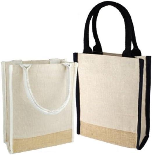 Pequeñas bolsas de yute mezcla de algodón Tote bolsa de libro con todo refuerzo y acentos de yute natural: Amazon.es: Hogar