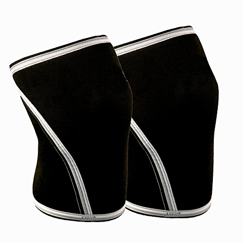 Knee Sleeves (1 Pair) 7mm Neoprene Thick Compression Knee Brace Support for Weightlifting, Powerlifting, Squatting & Cross Fit Training Fitness for Women and Men Black