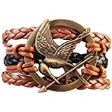 Hunger Games Mocking Jay Bird Braided Bracelet - Brown and Black