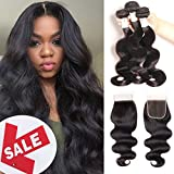 Cheap Baby Young Hair Virgin Brazilian Body Wave with Closure Human Hair Bundles with Lace Closure Body Bob Hair Closure 4×4 Lace Free Part Natural Black Color (12 14 16 +10 Closure)