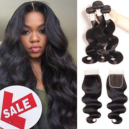 Baby Young Hair Virgin Brazilian Body Wave with Closure Human Hair Bundles with Lace Closure Body Bob Hair Closure 4x4 Lace Free Part Natural Black Color (12 14 16 +10 Closure)