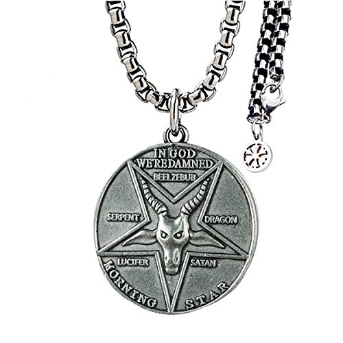 Xcostume Lucifer Pentecostal Coin Necklace Silver&Black Costume Accessories DC Cosplay Adult Props