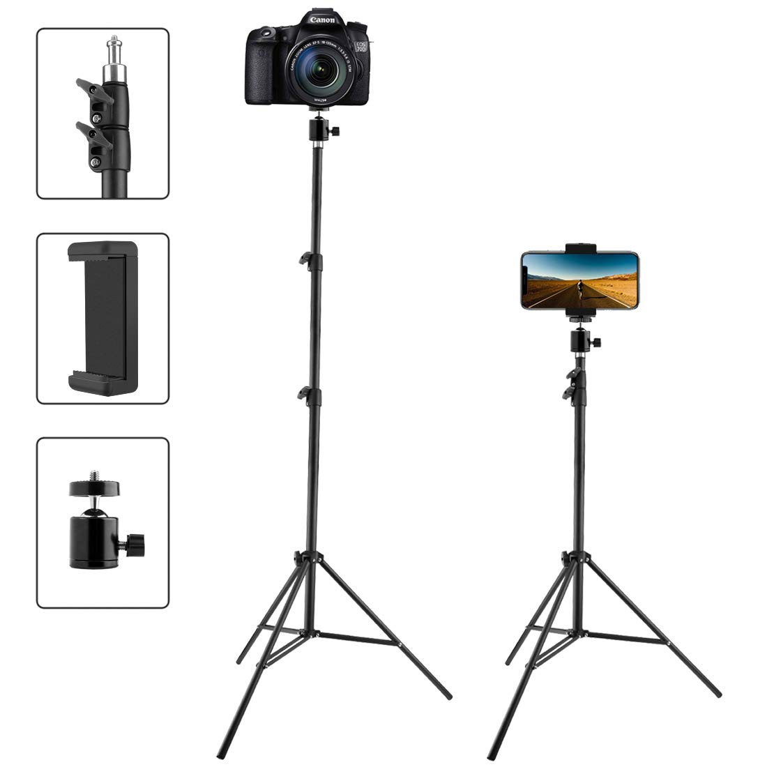 Phone Tripod Tall, Extend to 82 Inch Tripod with Cell Phone Holder, Tall Tripod for Cell Phones, Lightweight DSLRs, Digital Cameras and Action Cameras for Taking Photos and YouTube Videos (82'')