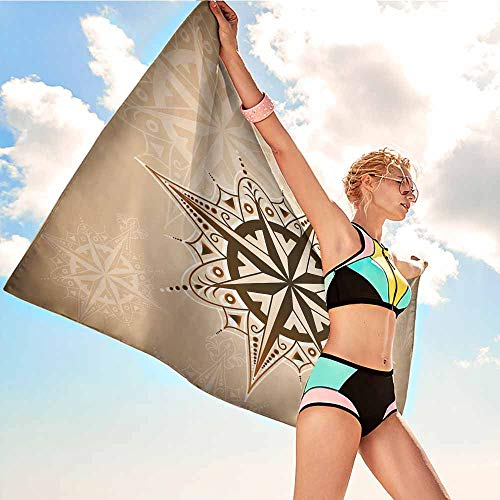 Custom Bath Bathroom Shower Towels Compass,Abstract Navigation Symbol Ancient Sailing Method Navigation Theme Print,Brown Light Brown,Suitable for Home,Travel,Swimming Use 20