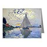 CafePress - Claude Monet Sailboat Note Cards (Pk of 20) - Blank Note Cards (Pack of 20) Matte