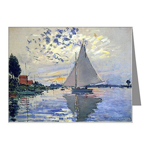 CafePress - Claude Monet Sailboat Note Cards (Pk of 20) - Blank Note Cards (Pack of 20) Matte by CafePress