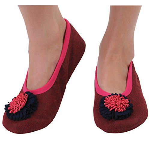 Snoozies Womens Distressed Suede Slipper Socks, Deep Fuschia, Large