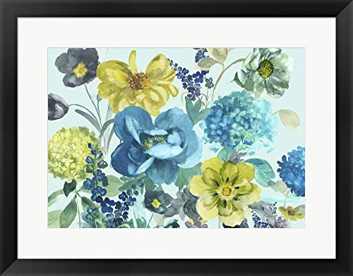Nantucket Floral Picture Frame - Nantucket Spring by Marietta Cohen Framed Art Print Wall Picture, Black Frame, 26 x 20 inches