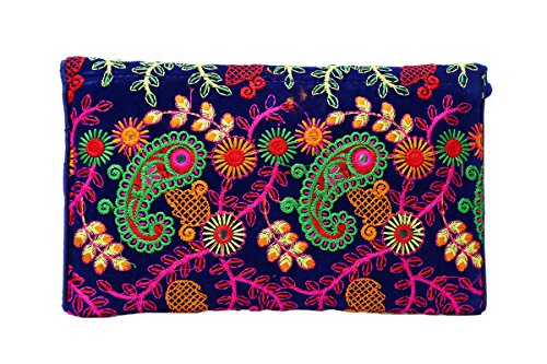 purse Clutch Evening Pinkish Fashion Multicolor Mauve handbag Ethnic Envelope Embroidered Studio Women's Collection Brazeal AvwqUYn