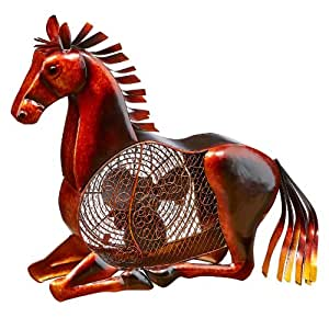 DecoBREEZE Table Fan Two Speed Electric Circulating Figurine Fan, 7 in, Horse