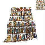 fine diy ladder bookshelf RenteriaDecor Lightweight Blanket Modern,Library Bookshelf with A Ladder School Education Campus Life Caricature Illustration,Multicolor Warm Microfiber Blanket W70 x L93 inch