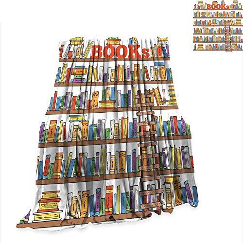 RenteriaDecor Lightweight Blanket Modern,Library Bookshelf with A Ladder School Education Campus Life Caricature Illustration,Multicolor Warm Microfiber Blanket W70 x L93 inch