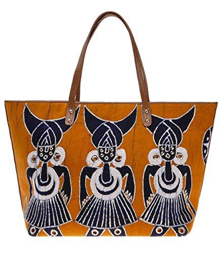 Batik Leather Tote Bag ZLYC Ethnic Top Handle Bag Tribal Shoulder Bag Fish Pattern Purse Valentine's Day Gift