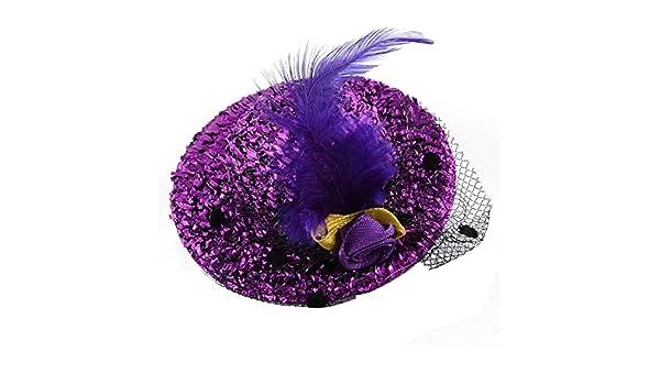 Amazon.com: eDealMax Pluma Mujeres Sombrero Forma Decoración Dientes de cocodrilo pinza de Pelo del Barrette púrpura: Health & Personal Care