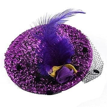 eDealMax Pluma Mujeres Sombrero Forma Decoración Dientes de cocodrilo pinza de Pelo del Barrette púrpura