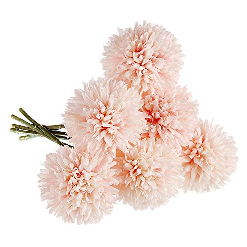 Cqure Artificial Flowers, Fake Flowers Silk Plastic Artificial Hydrangea 6 Heads Bridal Wedding Bouquet for Home Garden Party Wedding Decoration 6Pcs (Pink Champagne)