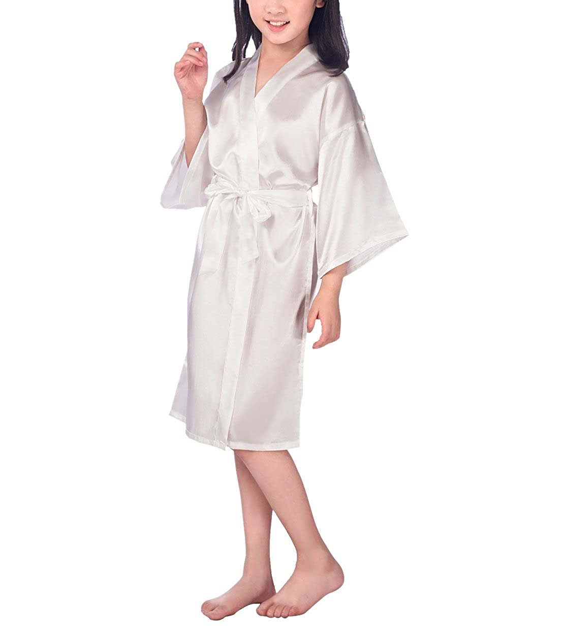 Ruth Wang Bambini In Raso Di Seta Accappatoio Kimono Vestaglia Pajamas Sleepwear Robe