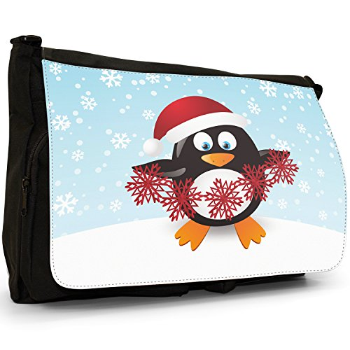 Nero Grande Messenger Tela In Christmas nbsp; Holiday Season Penguins Snuggle A Fancy Tracolla qUw0RR