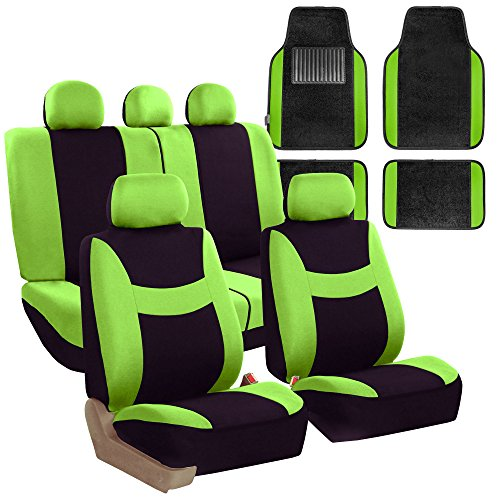 Green Car Mat - FH GROUP FH-FB030115 Light & Breezy Cloth Seat Cover Set Airbag & Split Ready with Premium Carpet Floor Mats Green / Black - Fit Most Car, Truck, Suv, or Van