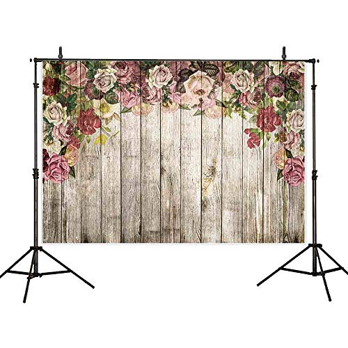 Allenjoy 7X5ft Flower Wooden Floor Photography Backdrop Wood Flat Lay Photographic Background Faux Panel Texture Board Tabletop Photo Studio Props Banner ()